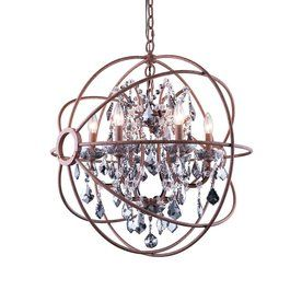 Elegant Lighting Urban 25-In 6-Light Red Rusted Paint Novelty Hardwired Cage Chandelier 1130D25ri-Ss/Rc