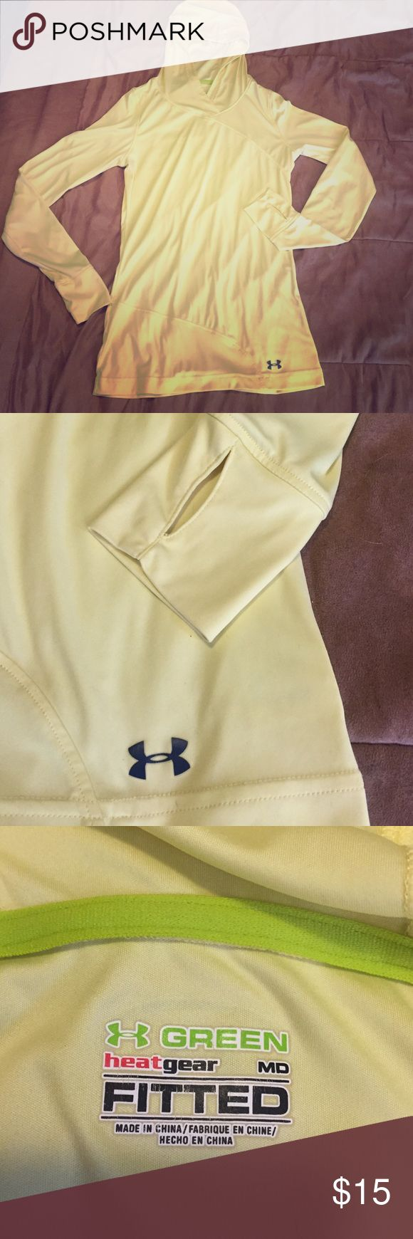 UnderArmour fitted longsleeve ❄️❄️❄️ Minimal wear , yellow fitted longsleeve by under armour. Label says size medium but fits like a small! Heat gear, perfect for workouts or anything light❄️ Under Armour Tops