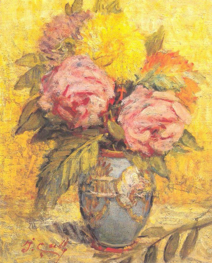 ibrahim çallı mavi vazoda güller tablosu