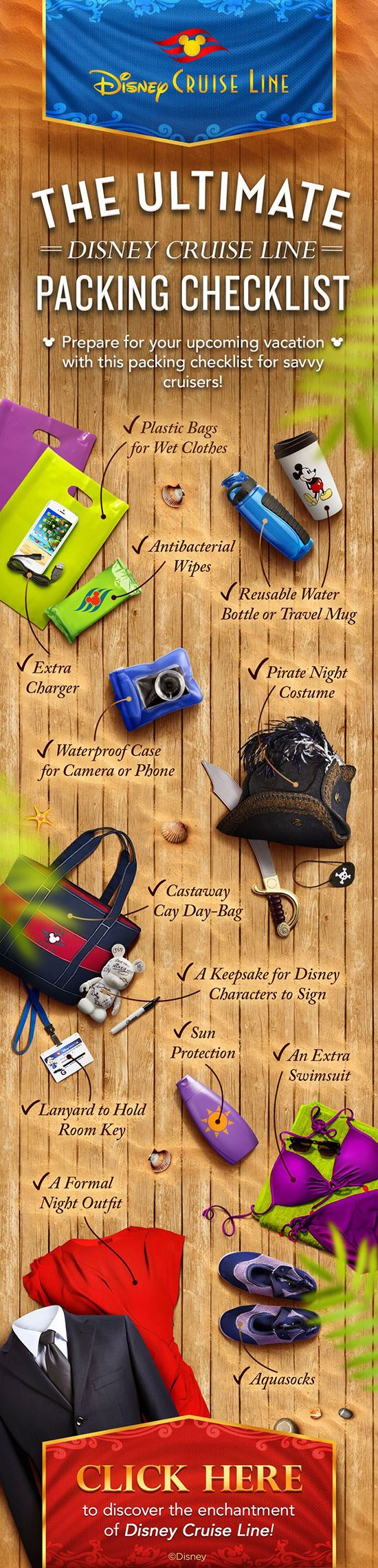 "I like this just because it's a nice looking infographic. ""Disney Cruise Line Packing List"""