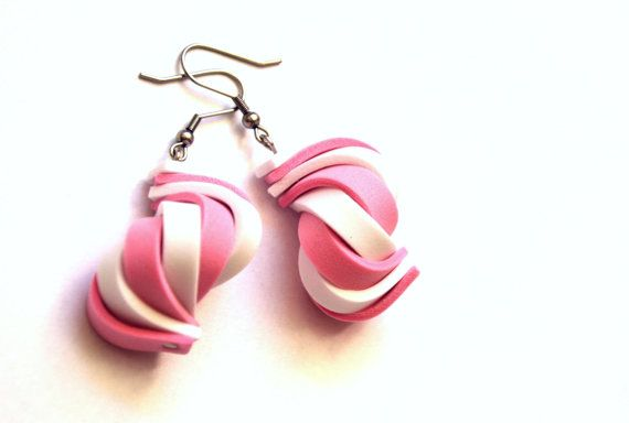 Original pink and white earrings made from moosgummi. Light and eccentric.
