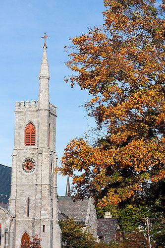 Fall Church    Church and Fall Leaves, Amherst, Massachusetts