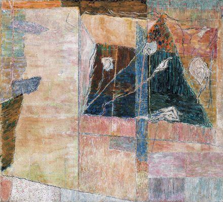 Rózsakert háromszögletű ablakkal, 1979-1980, olaj, vászon, 50 x 55 cm, Magyar Nemzeti Galéria
