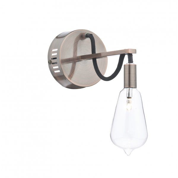 Decorative Single Copper Wall Light with Filament Style Glass Shade