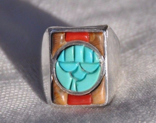 VICTOR MOSES BEGAY VMB NATIVE AMERICAN STERLING SILVER TURQUOISE RING, SZ 10 1/4