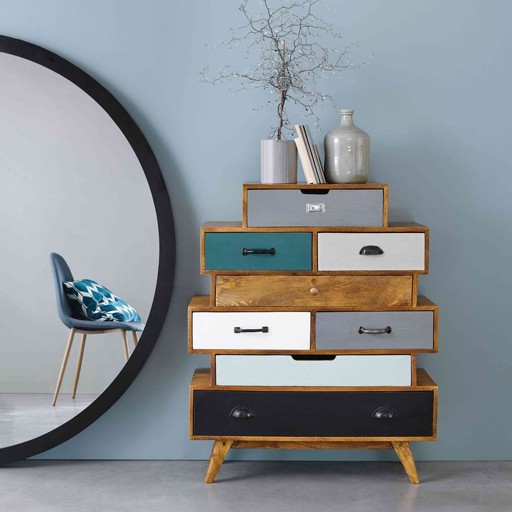 Affordable Retro Furniture: Semainier Vintage En Manguier Massif Multicolore In 2019