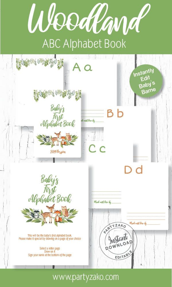 picture relating to Abc Book Printable identify Woodland Babys Very first Alphabet printable Guide, Woodland ABC