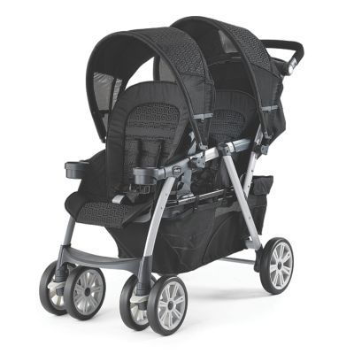 Chicco Cortina Together Double Stroller: Chicco's Cortina® Together™ is more than a feature-packed double stroller, it's a versatile double travel system with four configurations! Both the front and rear seats easily accept Chicco's top-rated KeyFit® Infant Car Seats, singly and together. Premium features include a fully-reclining rear seat, one-hand fold, and zippered storage basket....