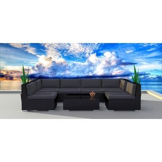 Shop for Urban Furnishing Series 7b Black Modern Outdoor Backyard Wicker Rattan Sofa Sectional Couch Set. Get free delivery at Overstock.com - Your Online Garden