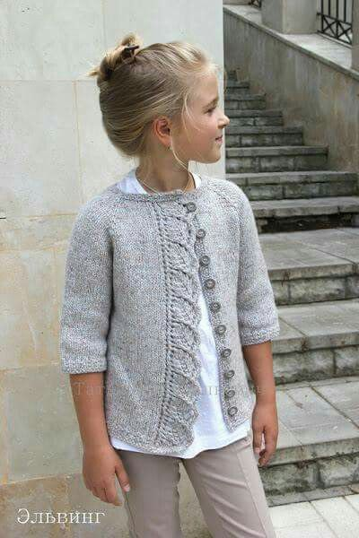 Knitted cardigan for girls. Ravelry: Cove Cardigan pattern by Heidi May