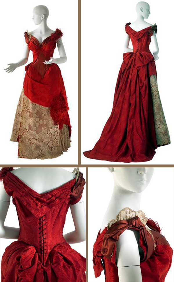 Evening dress, Worth, 1885-1886. Scarlet silk damask in chrysanthemum pattern; blood red satin; 18th-century cream bobbin lace; red ostrich feathers. The innovative use of modular components is particularly apparent here. Worth's popular contoured bodice is a focal feature, playfully accented by his use of contrasting, asymmetrical shoulders. The combination of blood red satin and scarlet damask is slenderizing.