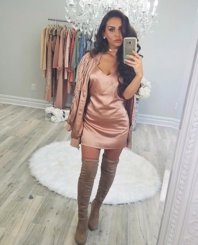 Her clothing line with misguided is so stunning, but so is this silk dress with high thigh boots.     //Pinned on @benitathediva, DIY Fashion LifeSTYLE Blog
