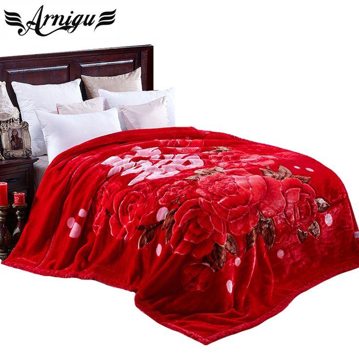 ARNIGU Chinese style print Red Thick Blankets 180x220cm 200x240cm Wedding blanket Raschel plaids warm Bed sheet Winter Throw  #Affiliate