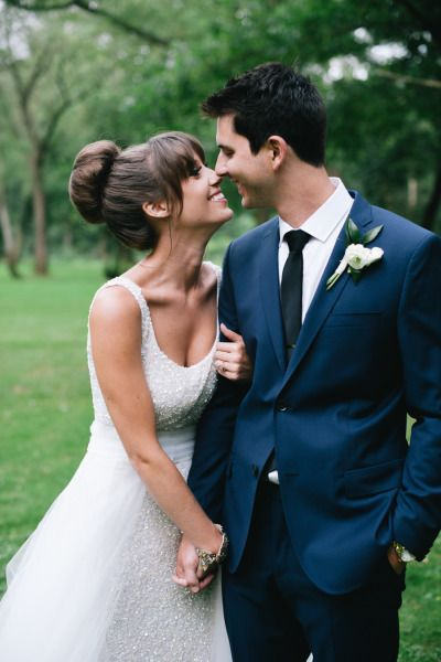 These two had their first kiss in a pine tree in 7th grade: http://www.stylemepretty.com/little-black-book-blog/2015/03/30/whimsical-fiore-farm-garden-party-wedding/ | Photography: Lydia Jane - http://www.lydiajane.com/