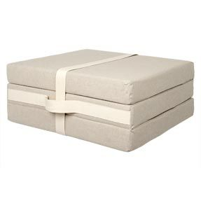 Foldaway Guest Mattress MUJI's Foldaway guest mattress is perfect for visitors and can also be used as a floor cushion. It folds up neatly with a belt secured by velcro. The removable cover is 68% Linen, 32% Cotton. Dimensions: bed w67 x d189 x h9cm Folds to w63 x d63 x h27cm.  £85.00 Item Code 6339557