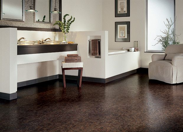 Brown Crocodile Bayou Vinyl Floor For White Bathroom Design
