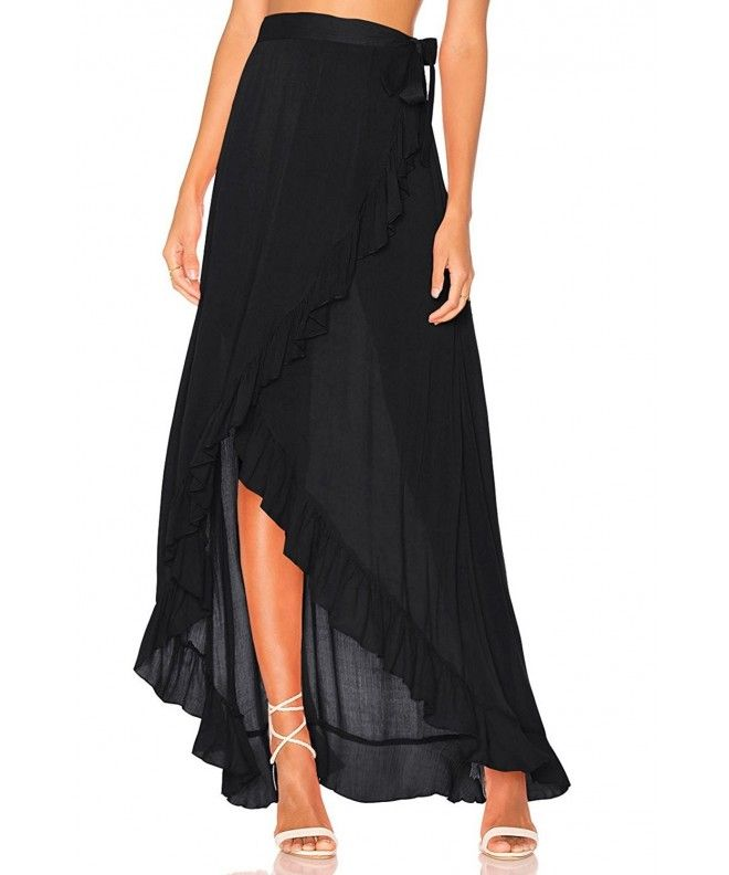 f4f092e5da Women Mesh Wrapped Chiffon Skirt Tie Fastening See Through Beach Cover Up  Flounced Skirt - Black - CM184442O58,Women's Clothing, Swimsuits & Cover Ups,  ...