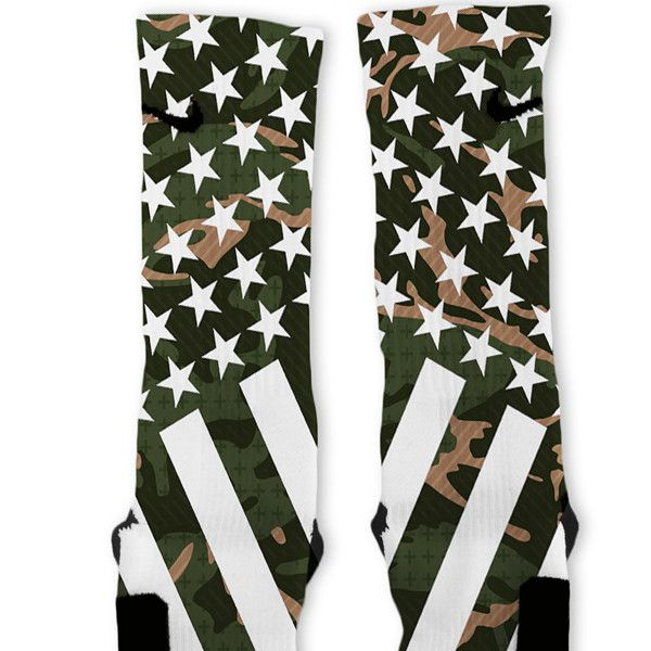 Combat Stars And Stripes Green Camo Custom Nike Elite Socks – Fresh Elites