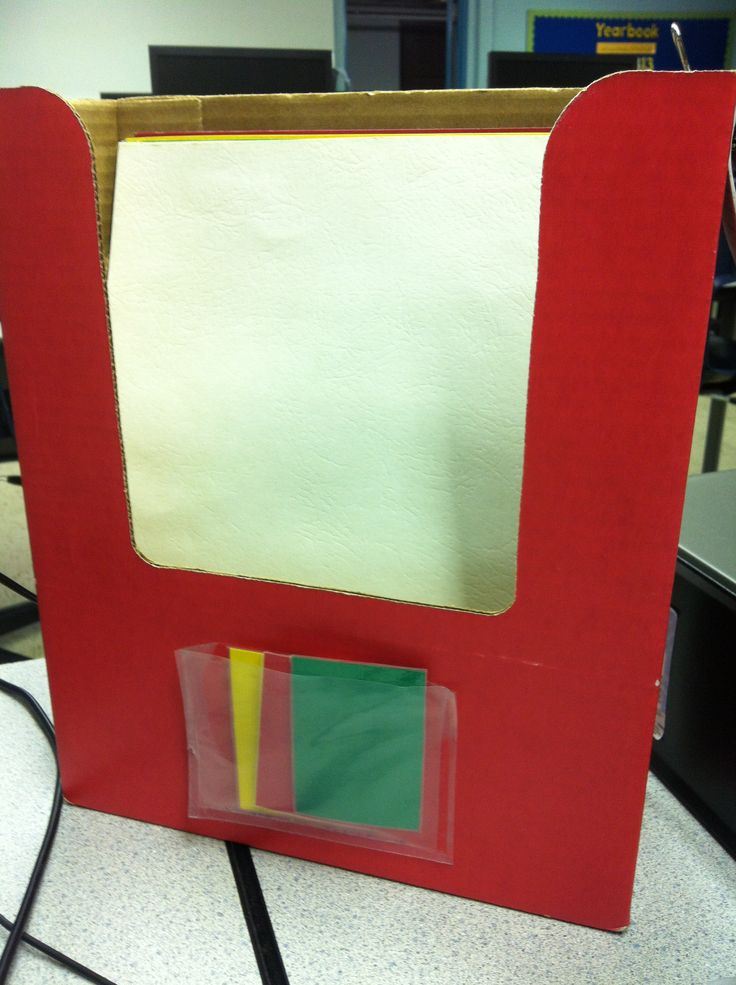 Computer Lab Station Organization - Magazine Holder: 1. Holds Green, Yellow, and Red Tags. 2. Holds 5 different Colored Folders (1 for each grade level)