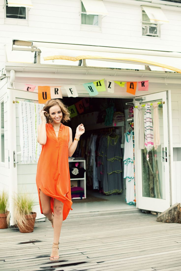 The Glamouri- Tangerine dress with nude sandals at The Surf Lodge