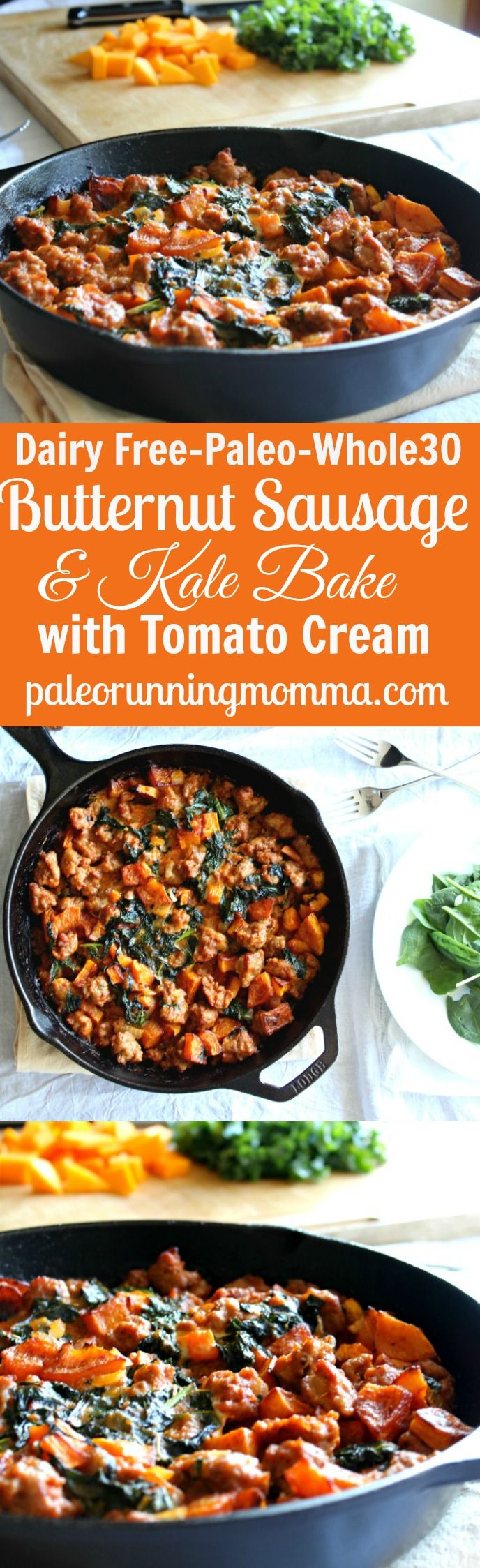 Dairy free, gluten free, paleo and whole30 friendly, this Butternut, Sausage, and Kale bake has a creamy tomato sauce that makes for a hearty, savory and irresistible one pot meal