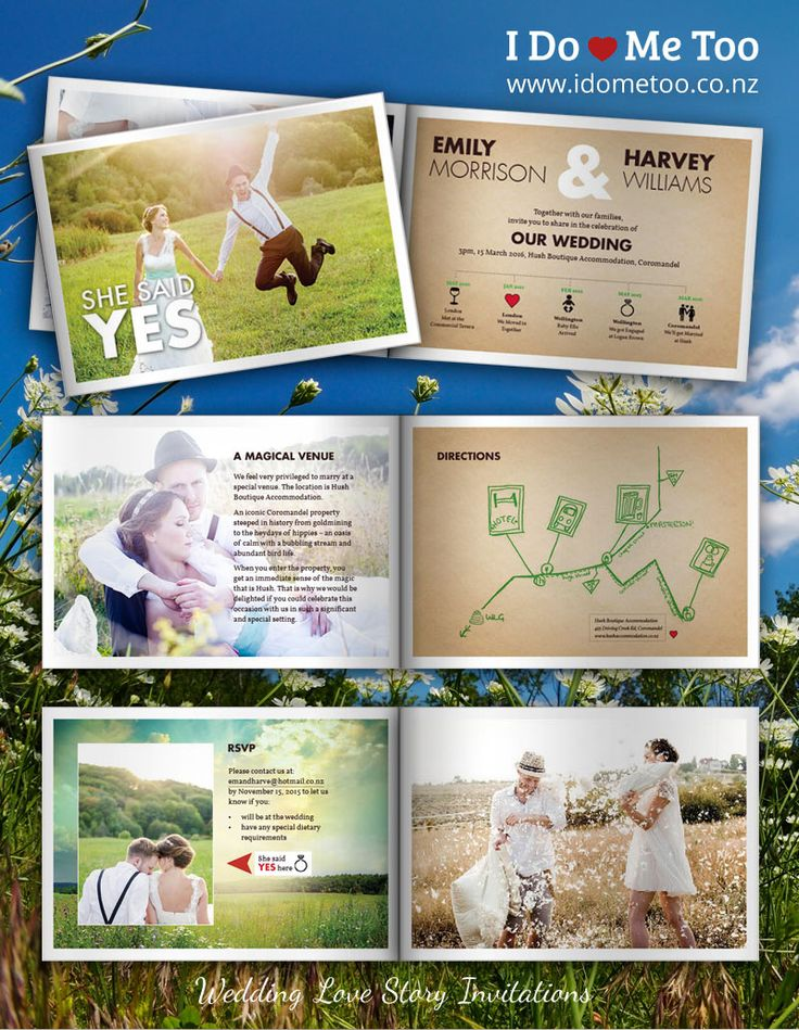 Rustic Wedding Invitation Style: Country Themed Invite - Create your very own Love Story invitation with I Do - Me Too Wedding Invitations. Each 8-page invitation is fully customisable to express your unique identity as a couple. Check inside this invitation now and imagine your own love story at http://www.idometoo.co.nz/rustic-wedding-invitation.html   #weddingstationery #weddinginvites #invitation #weddinginspiration