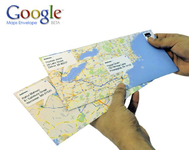 "Google Snail Mail - prints map envelopes of how to get from ""from"" to ""to"""