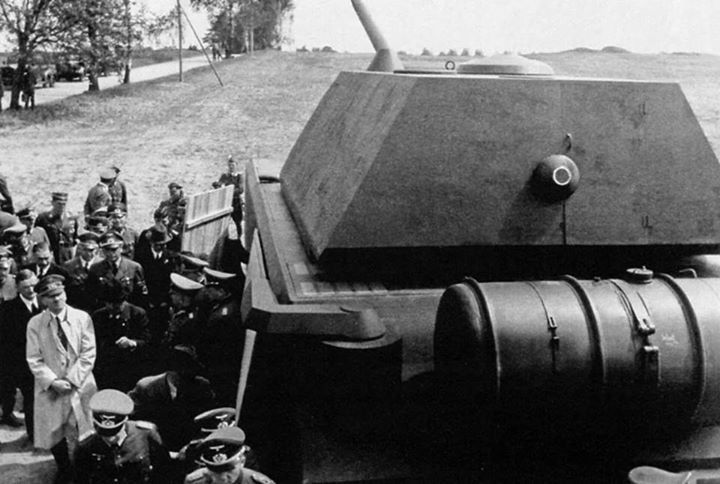 Fullscale wooden mockup of Maus superheavy tank during official presentation before Adolf Hitler