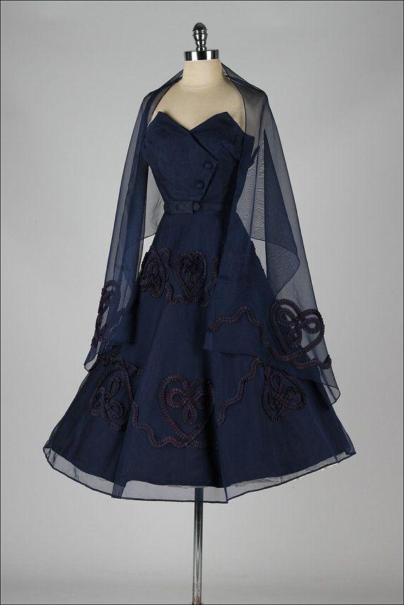 vintage 1950s dress . blue mesh cocktail by millstreetvintage