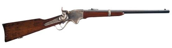 "Fine example of an Indian War refurbished Civil War Model 1860 Spencer Repeating Carbine by Springfield, .50 cal. Blade front and folding ladder rear sights, with ""SPENCER REPEATING-/RIFLE CO. BOSTON MASS./PAT'D MARCH.6. 1860."" on top of the frame, with a short saddle ring bar and single letter proofs on a number of parts.  The Spencer repeating rifle was first adopted by the United States Navy."