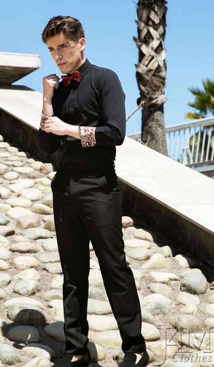 Camisa-Negra-Interior-Estampado-Rojo