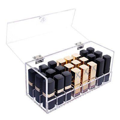 Langforth Organizador De Maquillaje Para Pintalabios Barra De Labios Caja Artesana Acrílica De 24 Ranuras Con Tapa