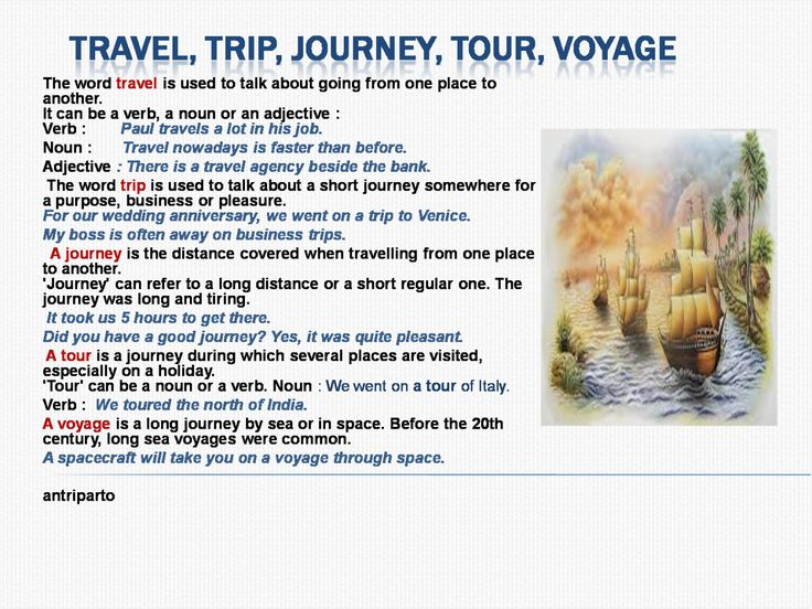 Difference Between Travel Journey Trip Voyage Tour