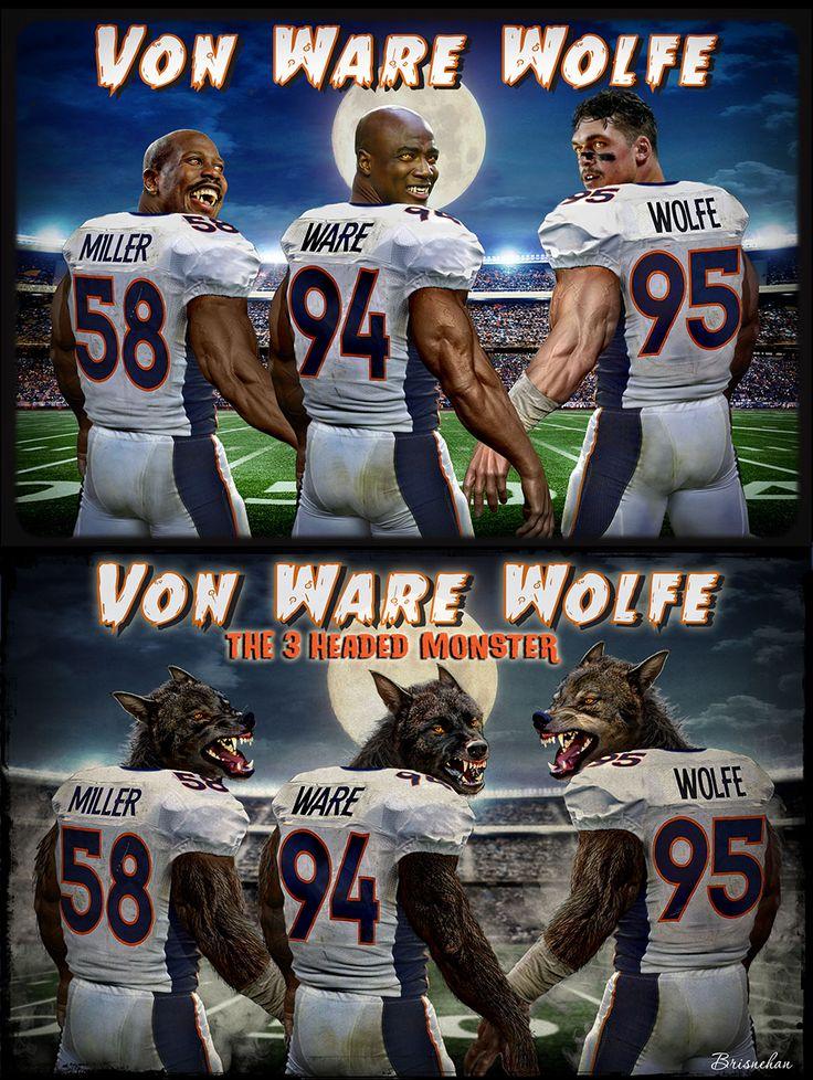 Denver Broncos, Von Miller, DeMarcus Ware, Derek Wolfe. Super Bowl 50. Football.