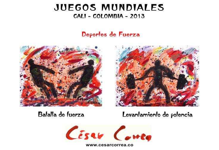 AFICHE JUEGOS MUNDIALES CALI 2013  DEPORTES DE FUERZA