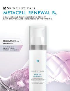 Metacell Renewal B3 from SkinCeuticals is a daily active skin care product designed to reverse early skin photo-aging. It is a combination of 5% Niacinamide, 2.5% tri-peptide concentrate and 15% Glycerin. Improves texture, dehydration, discoloration, fine lines and redness. Once daily for normal to dry skin types.
