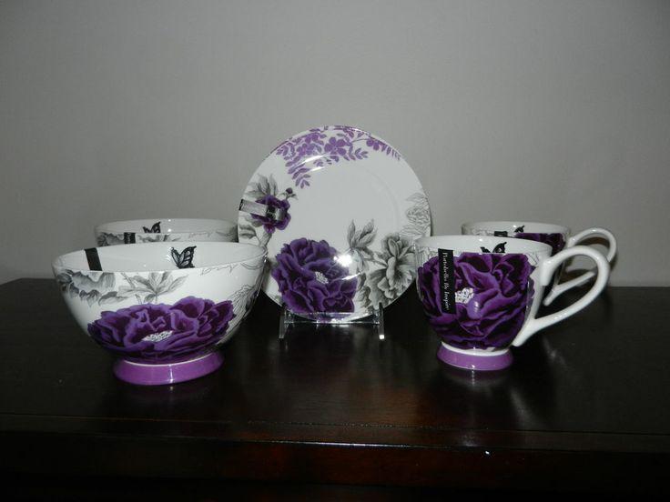 New Portobello By Inspire Purple Floral Design Set Of 2