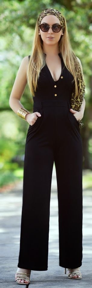 Hot Miami Styles Black Button Accent Plunge Jumpsuit by Chic Fashion World