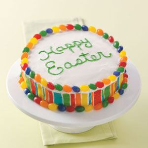 Easy colorful Easter cake. For family: Let McGwire do the writing on cake and Hallel and Asher make scribbles around writing for sweet memory. Idea: Could use the Jelly bean prayer that explains salvation to the kids.