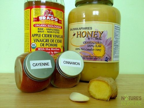 Natural Sore Throat & Cough Remedy....Mix Apple Cider Vinegar, Water, Cinnamon, Ginger, & Cayenne.  Heat in microwave - stir in honey.  This works!