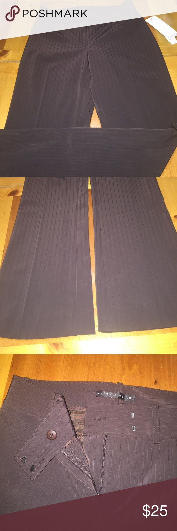 NWT Antonio Melani brown slacks NWT Antonio Melani chocolate brown slacks.  Is a Maxine fit that sits 1&1/2 inches below waist with fly front and is contoured through the hip and thigh. Has 2 back pockets. There is a jacket that matches these slacks that I posted also if interested. ANTONIO MELANI Pants Straight Leg