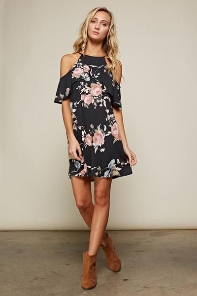Act fast if you want to get your hands on the IT dress of the season! Features EVERYTHING that's on-trend this season: an adorable floral print & open shoulders. Sizing Info: Small-fits 0/2/4 Medium-f