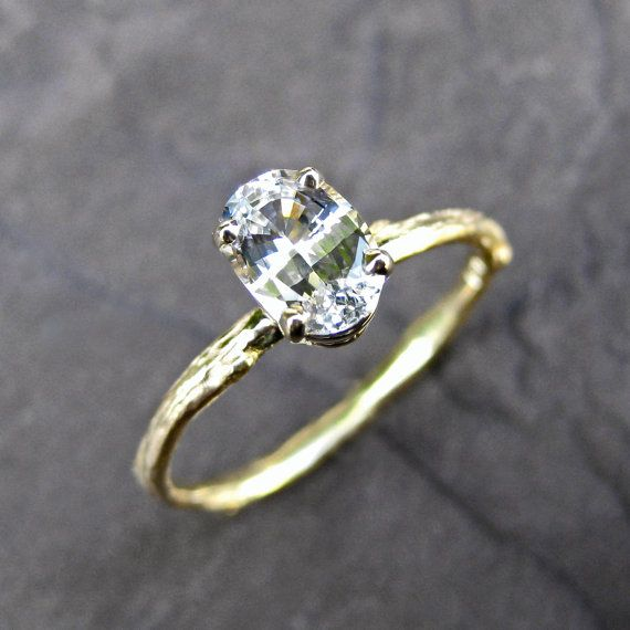Oval White Sapphire Twig Ring in Yellow Gold by kristincoffin