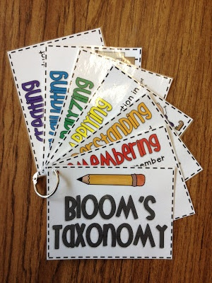 These Bloom's Taxonomy flash cards would be good for teacher and student use. The teacher could easily refer to them while writing lesson plans, and students could use them to practice generating questions.