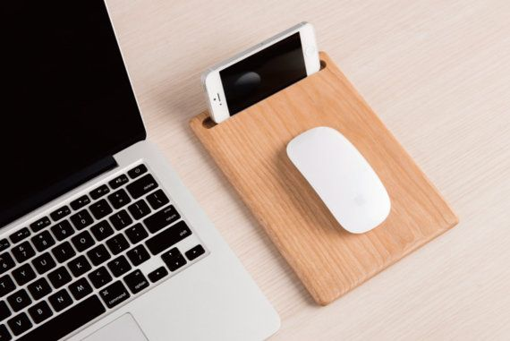 Handmade Creative Wooden Mouse Pad & Cell Phone Stand (Rectangle)