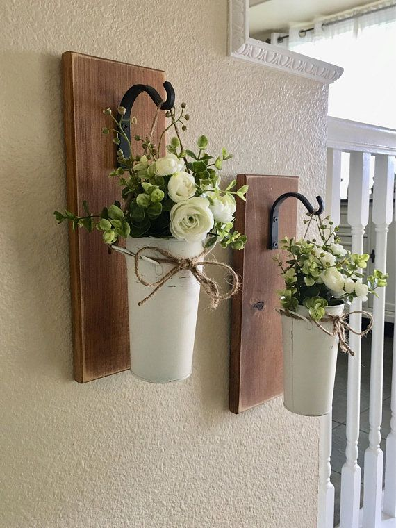 Farmhouse Living Room Decor, Hanging Planter with Greenery ... on Wall Sconces For Greenery Decoration id=11910