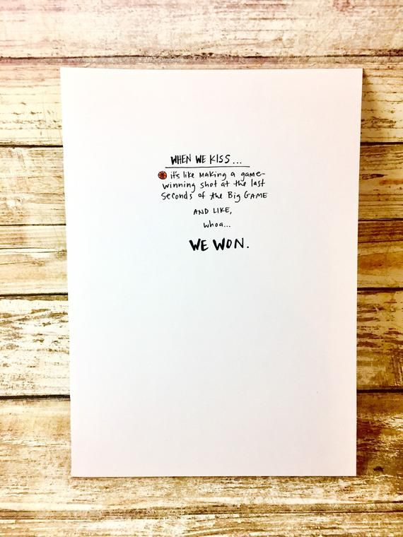 I love you card, One Year Anniversary Card for husband, Paper Anniversary, Card for him, game winner, sports lover, kissing you, basketball