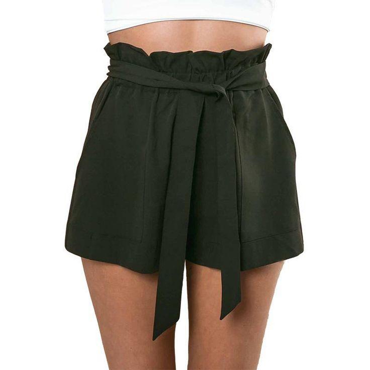 New Short High Waist Belt Solid Casual Shorts Army Green Women Chiffon Pocket Loose Shorts 1STL