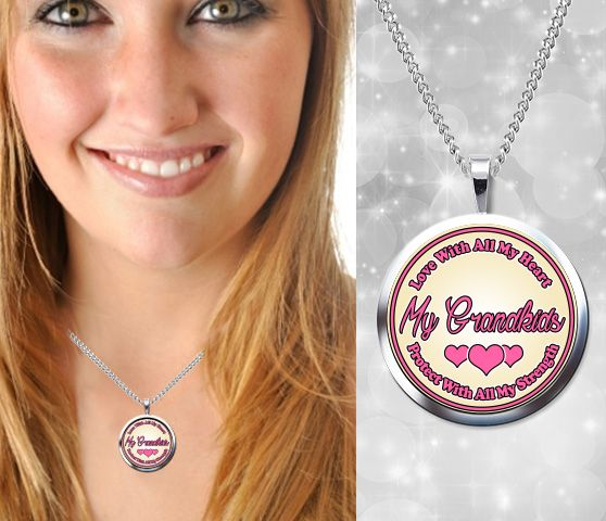 My Grandkids; Love and Protect - High Quality, Silver Plated Pendant and Chain