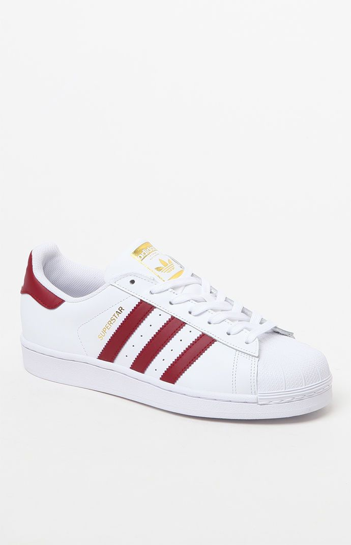 adidas Women's Burgundy and White Superstar Sneakers at PacSun.com